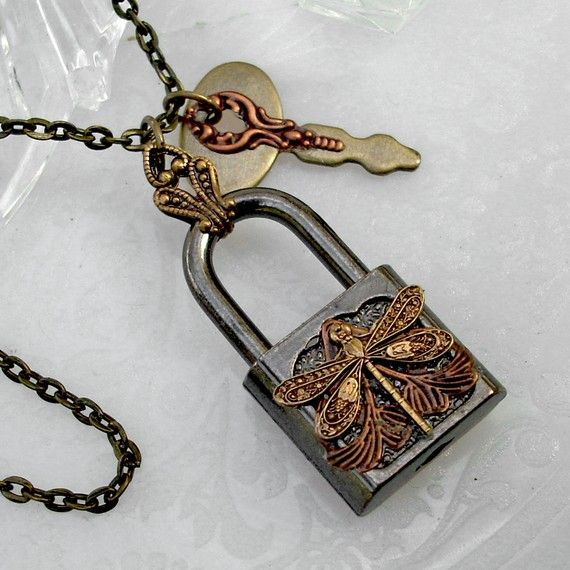 Steampunk lock and key pendant with dragonfly