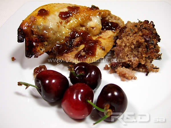 Guinea fowl stuffed with cherries and couscous. Recipe, Italian menu, calories and paired wine.