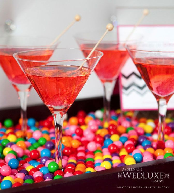 baconcheeseburger-sundays Bubblegum Martinis ~ Served on a Platter of Gumballs - 2 oz. Bubblegum Flavored Vodka, 1 oz. Ginger Ale, and 1 oz. Cranberry Juice. Shake with Ice, strain into a chilled Martini Glass and garnish with Rock Candy - baconcheeseburger-sundays