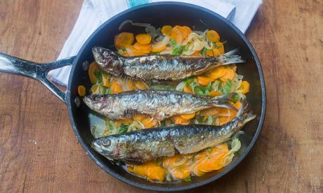 Sardines escabeshe: fresh coriander works brilliantly with this dish. Photograph: Sarah Lee for the Guardian