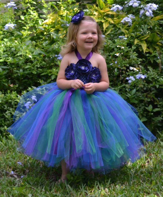 Peacock Flower Girl Tutu Dress for by PrincessFactoryTutus on Etsy