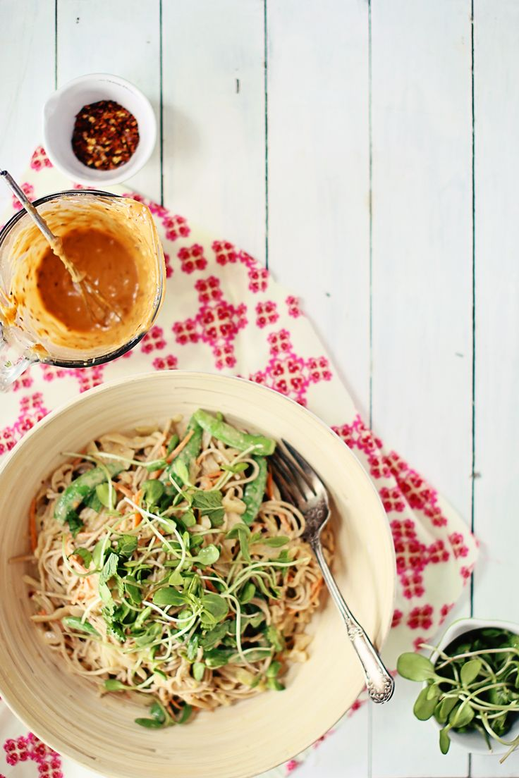 Soba & cabbage noodle salad with spicy peanut sauce | Recipe | Spicy ...
