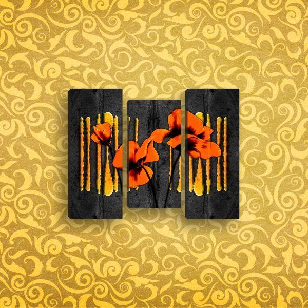 Модульная картина жолтые цветы на черном фоне 81 х 60 см | Магазин модульных картин