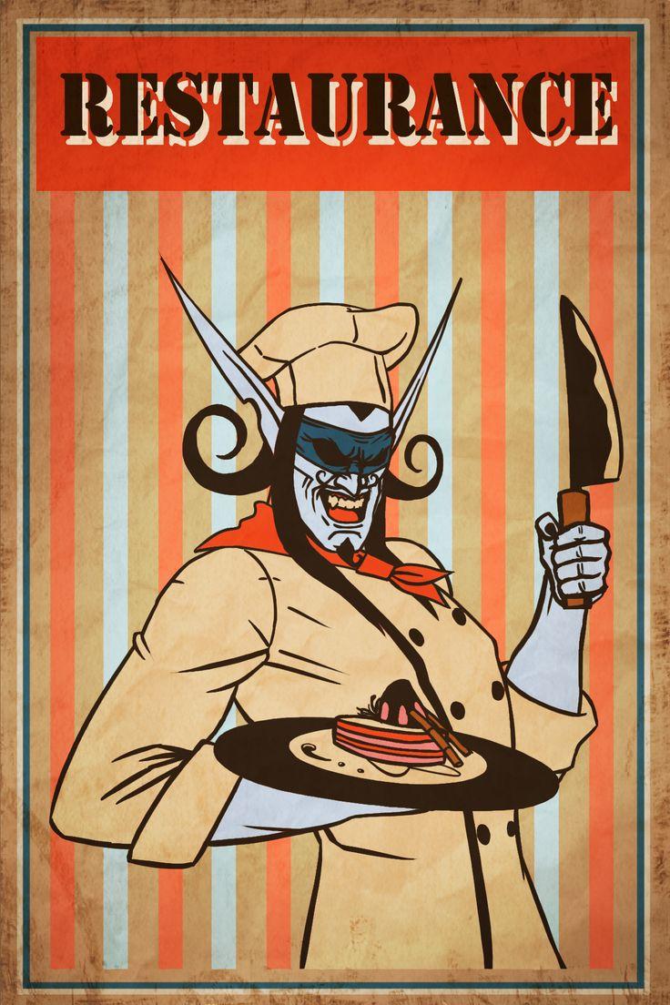 wow_chef illidan retro poster