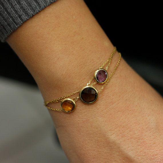 Citrine, smoky quartz and purple amethyst bracelet, 14K solid gold, multicolor natural gemstones, dainty bracelet, ideal gift for her, AB036