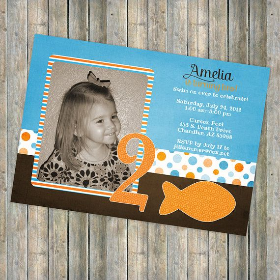 Best Goldfish Girl Party Images On Pinterest Girl Parties - Goldfish birthday invitation