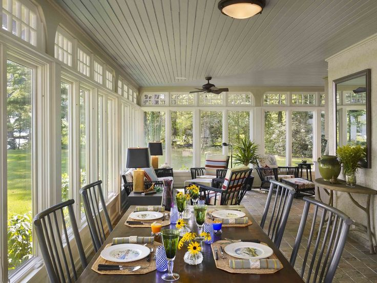 Porch Enclosed Front Ideas with Stunning Views of Surrounding Sunroom Windows With Beadboard