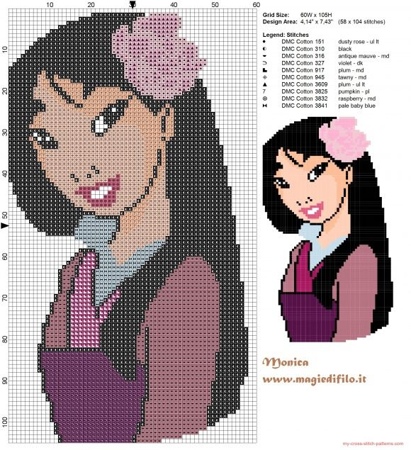 Mulan happy cross stitch pattern (click to view)