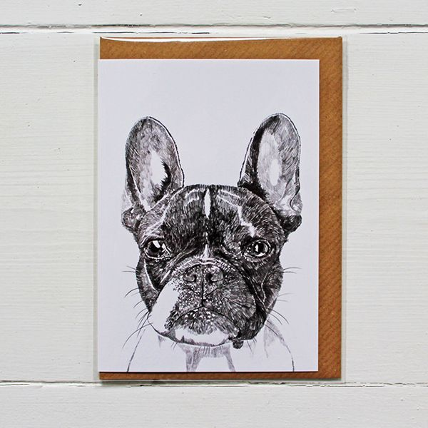 Simple and classic greetings card, designed by illustrator Ros Shiers, featuring Murphy The Boston Terrier.