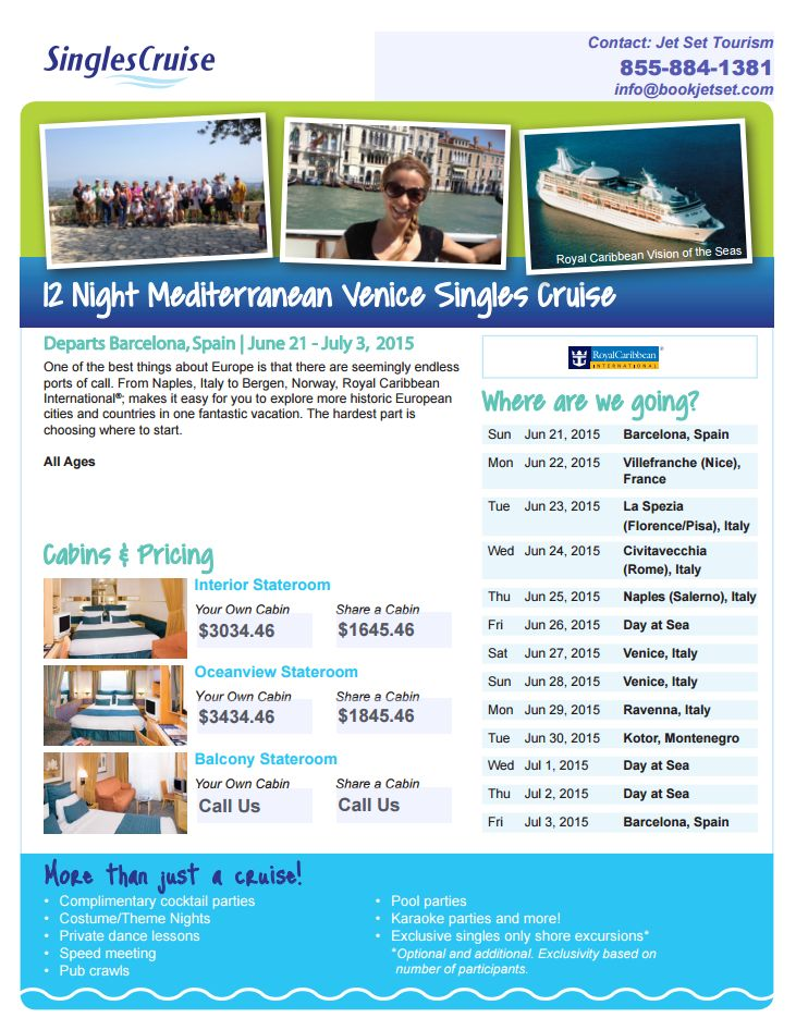 Cruise the Mediterranean w/ Singles Cruise this summer, 12 Nights from $1645! #bookjetset 855-884-1381