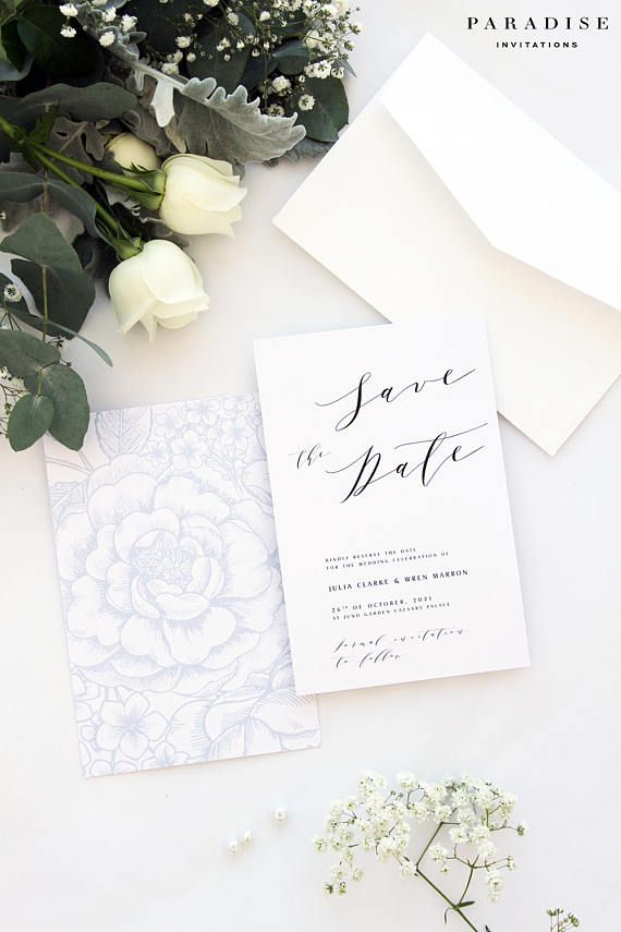 Julia Silver Save the Date Cards, Printable Calligraphy Save the Date Cards