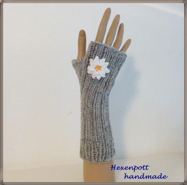 Armstulpen - Stulpen Tweed hellgrau EDELWEISS - ein Designerstück von Hexenpott bei DaWanda