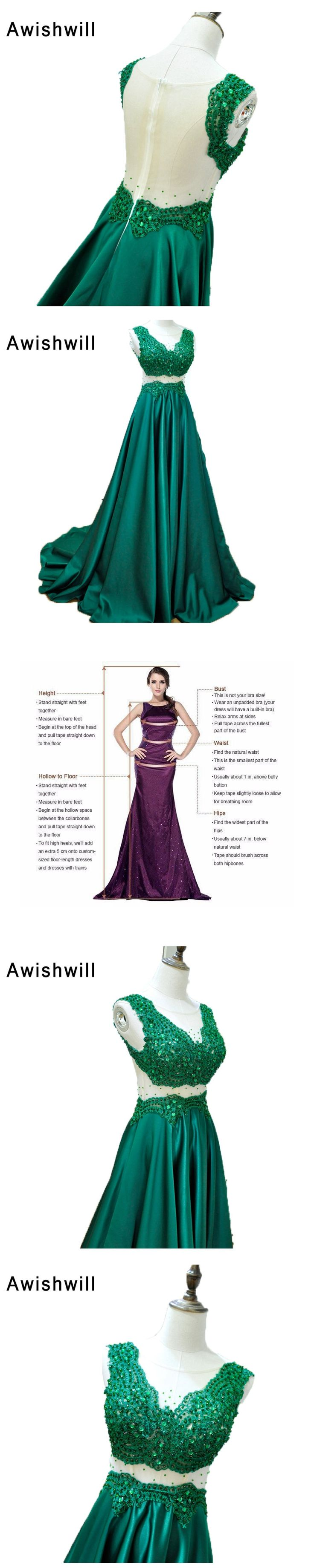 Emerlad Green Evening Dress for Women Sexy Transparent Back Appliques Beading Satin Long Prom Gown Custom Party Formal Dresses