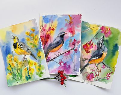 """Check out new work on my @Behance portfolio: """"Spring birds"""" http://be.net/gallery/34394335/Spring-birds"""