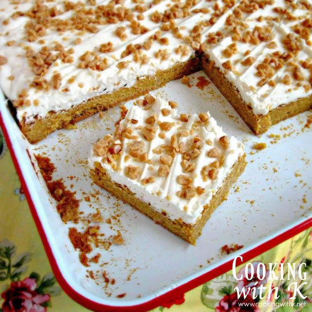 Cooking with K: Pumpkin Sugar Cookie Bars with Buttercream Frosting and Toffee Bits