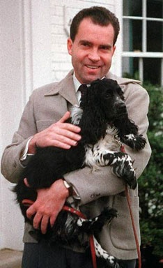"President Richard Nixon's dog, Checkers, is credited with saving his political career. In 1952, Nixon defended his candidacy for vice president when a story spread that he had a secret slush fund. In a nationally televised address, Nixon did admit to taking one ""gift"" - his dog. ""The kids love the dog, and we're going to keep it!"" an emotional Nixon said in an outburst known to the day as the Checkers speech."