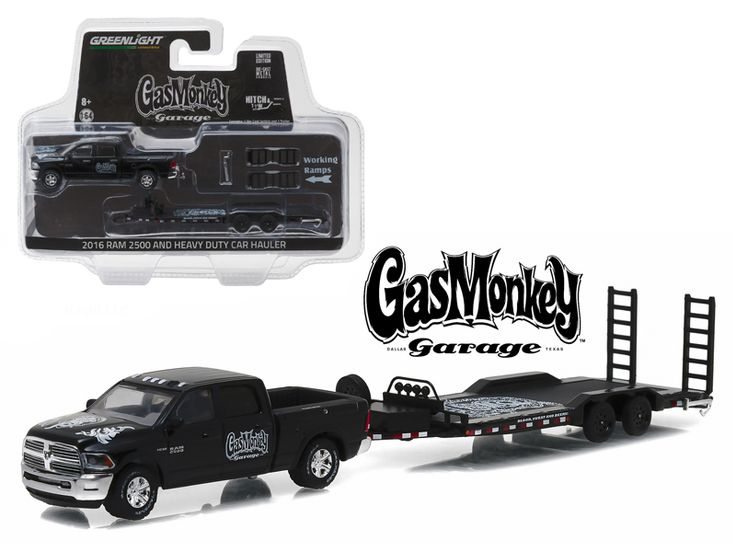 "2016 Dodge Ram 2500 Pickup Truck and Heavy Duty Car ""Gas Monkey Garage"" (2012-Current TV Series ) Hitch & Tow Series 8 1/64 Diecast Model Car by Greenlight - Brand new 1:64 scale car model of 2016 Dodge Ram 2500 Pickup Truck and Heavy Duty Car ""Gas Monkey Garage"" (2012-Current TV Series ) Hitch & Tow Series 8 die cast car model by Greenlight. Limited Edition. Detailed Interior, Exterior. Metal Body. Comes in a blister pack. Officially Licensed Product. Dimensions Approximately L-7 Inches…"