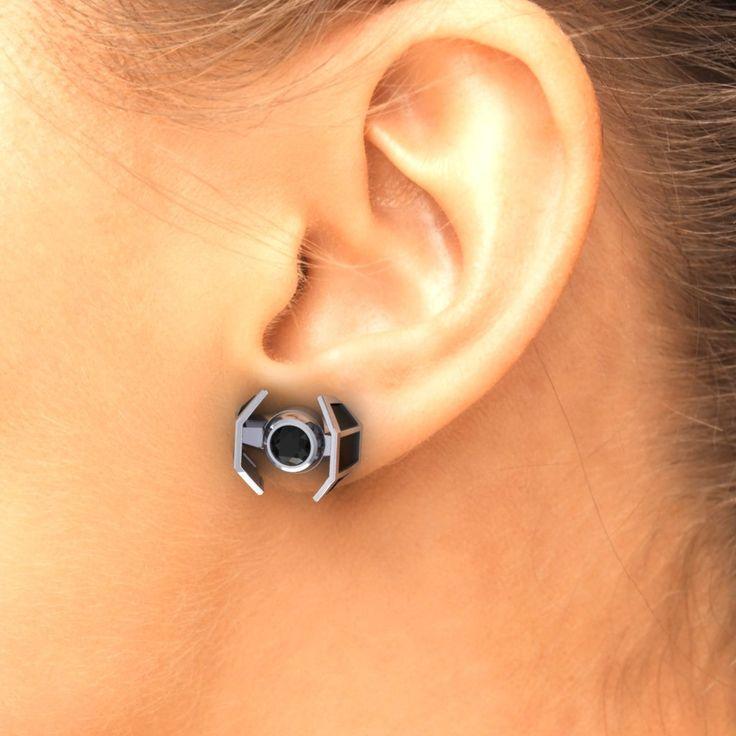 Star Wars Tie Fighter Earrings , Black and white CZ  Custom Made Jewelry, Tie fighter Star Wars Earrings by PaulMichaelDesign on Etsy