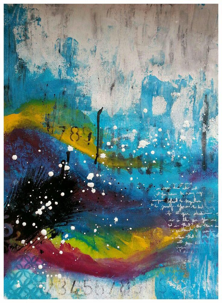 Original abstract acrylic paint mixed media unmounted canvas