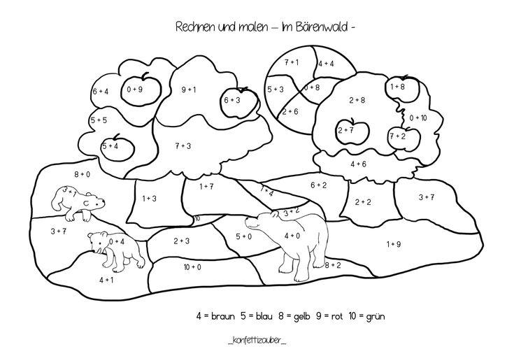 rechnen und malen addition bis 10 im bärenwald