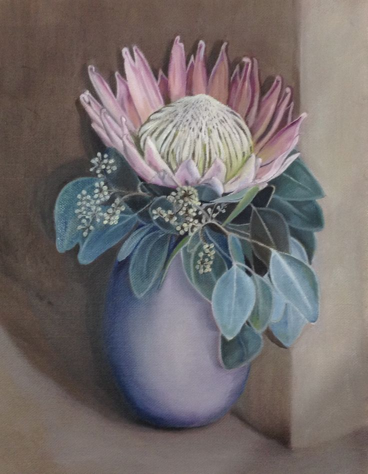 Protea in detail. Oil.