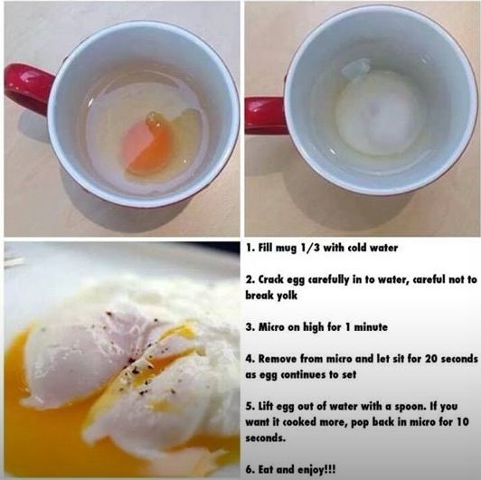 Poached Eggs the quick way. Perfect for if you're following Slimming World as they are syn free on all plans! DIY microwave poached eggs tutorial.