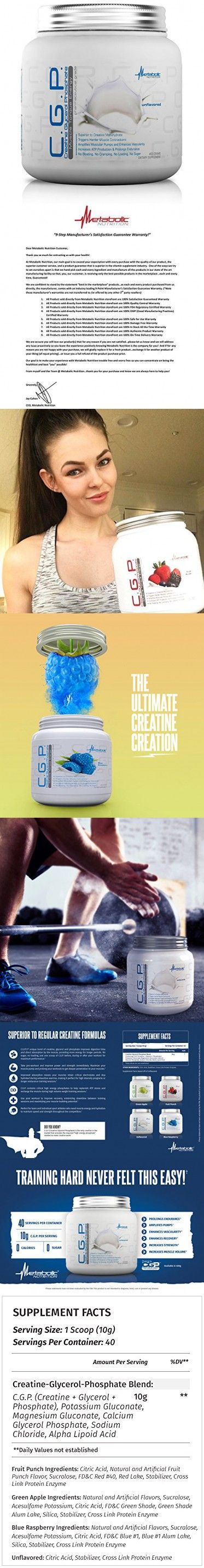 Metabolic Nutrition, CGP, Creatine Glycerol Phosphate, 100% Micronized Creatine Powder, Pre Intra Post Workout Supplement, Unflavored, 400 grams (40 servings)