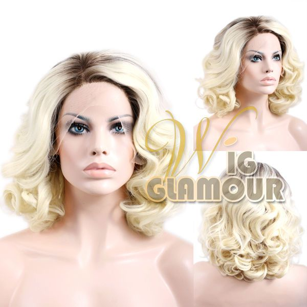 "Long Curly 10""-16"" Brown Mixed Blonde Lace Front Wig Heat Resistant #Wigglamour #FullWig"