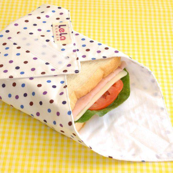 2 Bags *HANDMADE* Eco Friendly Reusable Snack//Sandwich Bags Gray