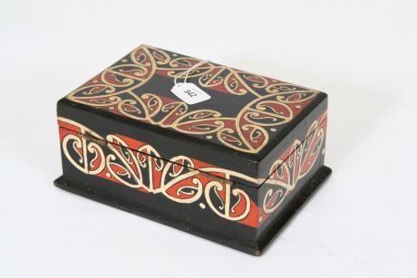 A Folk Art Kowhaiwhai Pattern Painted Small Box