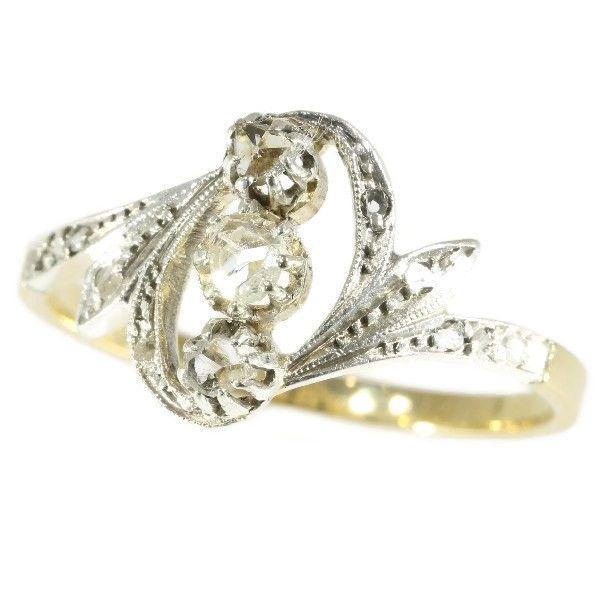 Online veilinghuis Catawiki: Antieke diamanten ring - goud - periode 1910