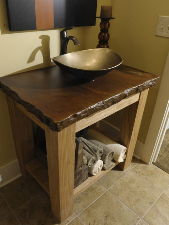 unique rustic vanity with vessel sink for this half bath design home remodel