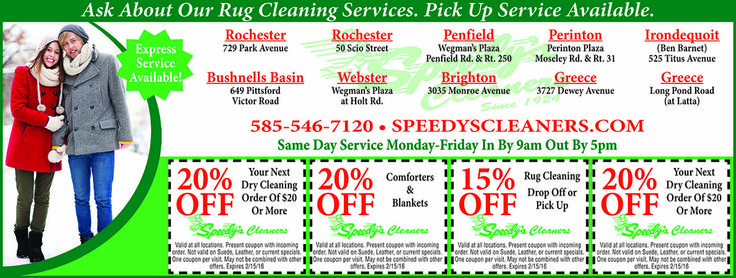 Speedy's Dry Cleaning will help you save with dry cleaning coupons for your tuxedos, evening wear, and whatever else needs delicate cleaning without going through the wash cycle. Trust us with your special occasion outfits or everyday wear. www.speedyscleaners.com/