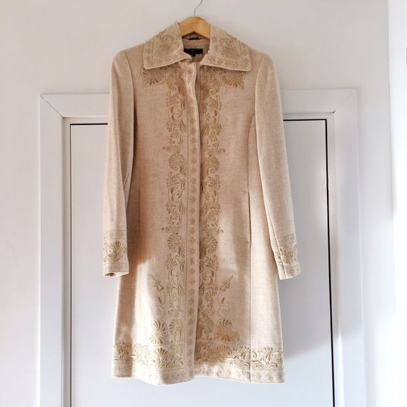 Unique embroided Mango coat This Mango coat, 50% wool/ 50% viscose, with gold embroideries is perfect for the holiday season. Good condition. Size M, fits S Mango Jackets & Coats