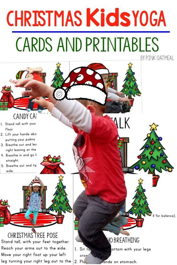 Christmas Gross Motor. Super fun Christmas Themed Kids Yoga! Pose like a candy cane or walk like an elf!  These are the perfect Christmas activity for preschool and up!