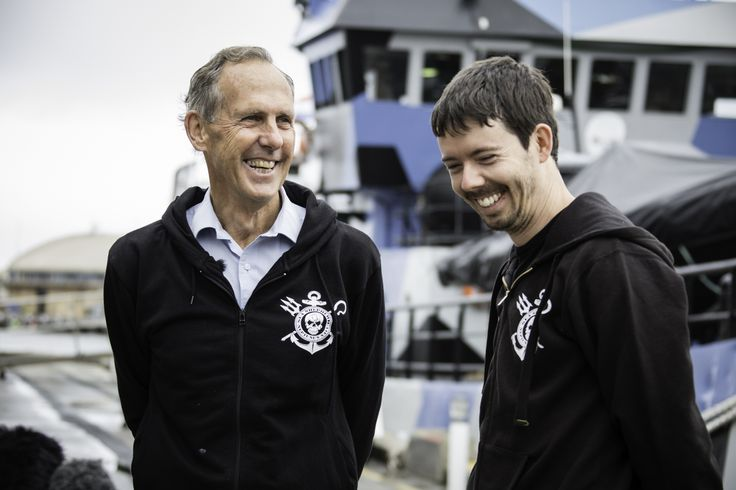 Bob Brown with Peter Hammarstedt for the commencement of Sea Shepherd's 11th Southern Ocean Defence Campaign, Operation Icefish. Hobart, Tasmania 2014.