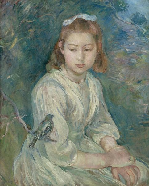 Girl with Bird by Berthe Morisot | Art Posters & Prints