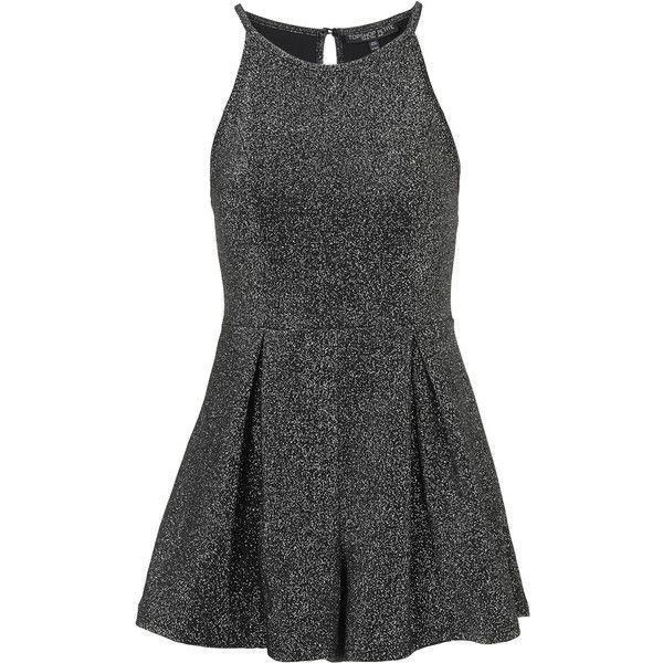 TOPSHOP PETITE Exclusive Lurex Playsuit ($35) ❤ liked on Polyvore featuring jumpsuits, rompers, dresses, playsuits, vestidos, romper, petite, silver, topshop romper and topshop rompers