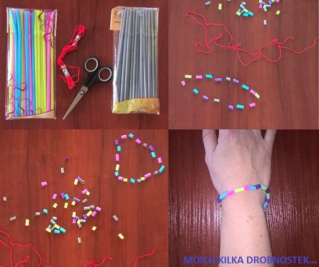Bransoletka ze słomek DIY... Bracelet made from straws DIY