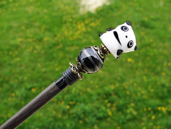 Wooden japanese hair stick and little ceramic panda and lampwork - black and white - kanzashi hairpin pin wood chopstick ornament headpiece
