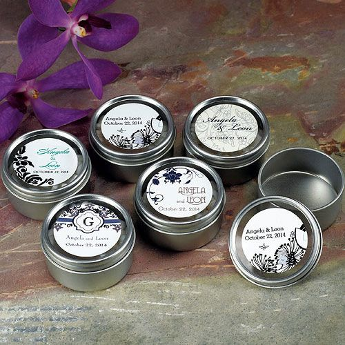 small tins with personalized stickers. fill with tea, candy, lotion.... #diywedding #blackandwhitewedding