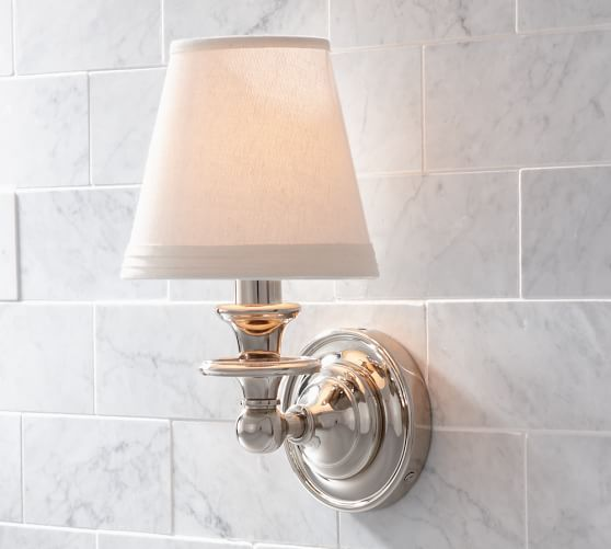 Sussex Shade Sconce Single Polished Nickel Bathroom