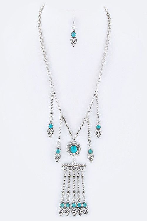 {Textured Fringe Bar Necklace Set}