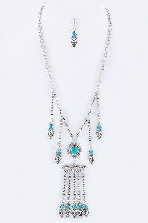 {Textured Fringe Bar Necklace Set}