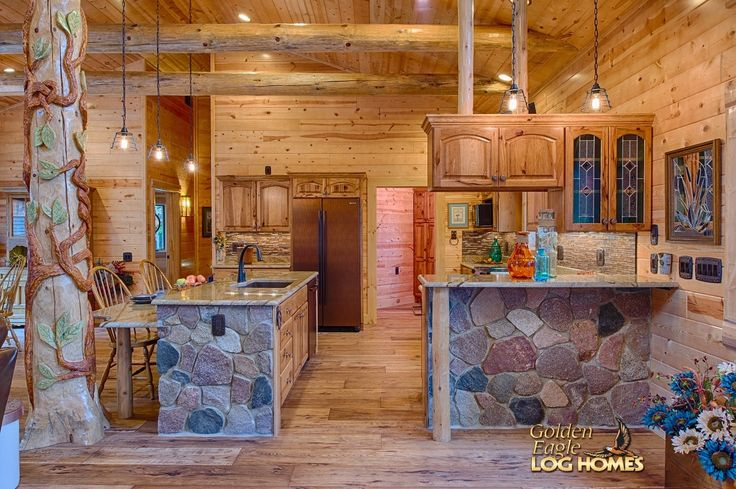 Log Home By Golden Eagle Log Homes Kitchen Area View 2