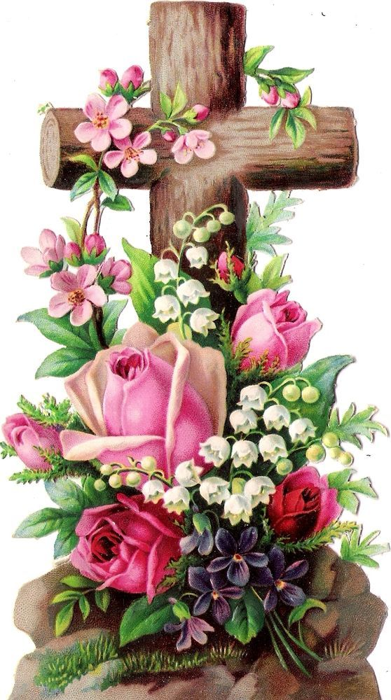 Oblaten Glanzbild scrap die cut chromo Kreuz 15,7 cm cross croix Blume rose