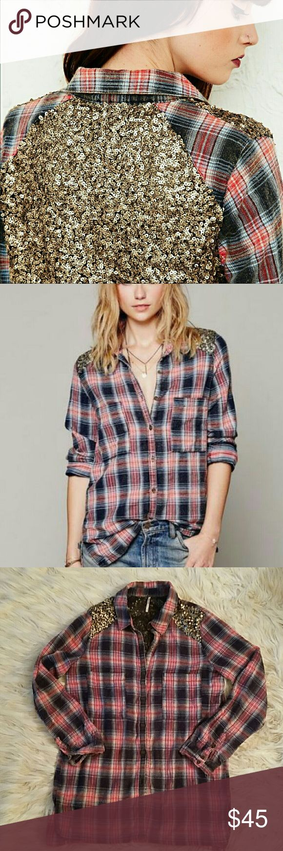 Free people sequin flannel *GUC *Sequins on the back & shoulders *100% Cotton & super soft material *Relaxed fit, looks great worn like how the second picture shows it or tied in the front with a cute tshirt or tank under it ❤ *Would also look great on a cool summer night with shorts & cowboy boots!! Free People Tops Button Down Shirts
