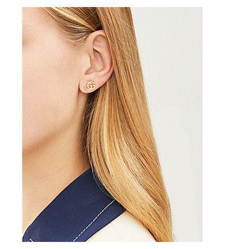 402221aadaa GUCCI - GG Running 18ct yellow-gold tissue stud earrings