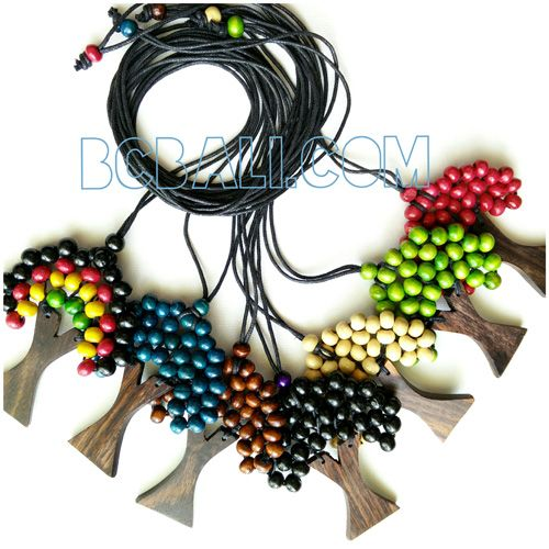 palm tree necklaces wooden strings 7 color - palm tree necklaces wooden strings 7 color
