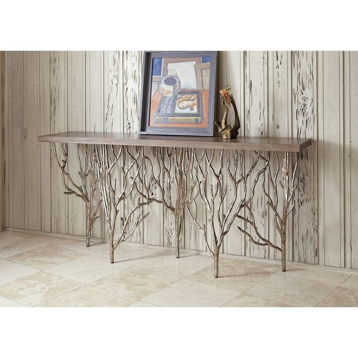 Stunning Contemporary Forest Silver Metal Wood Top Console Table,80'' x 36''H. #Unbranded #Mediterranean